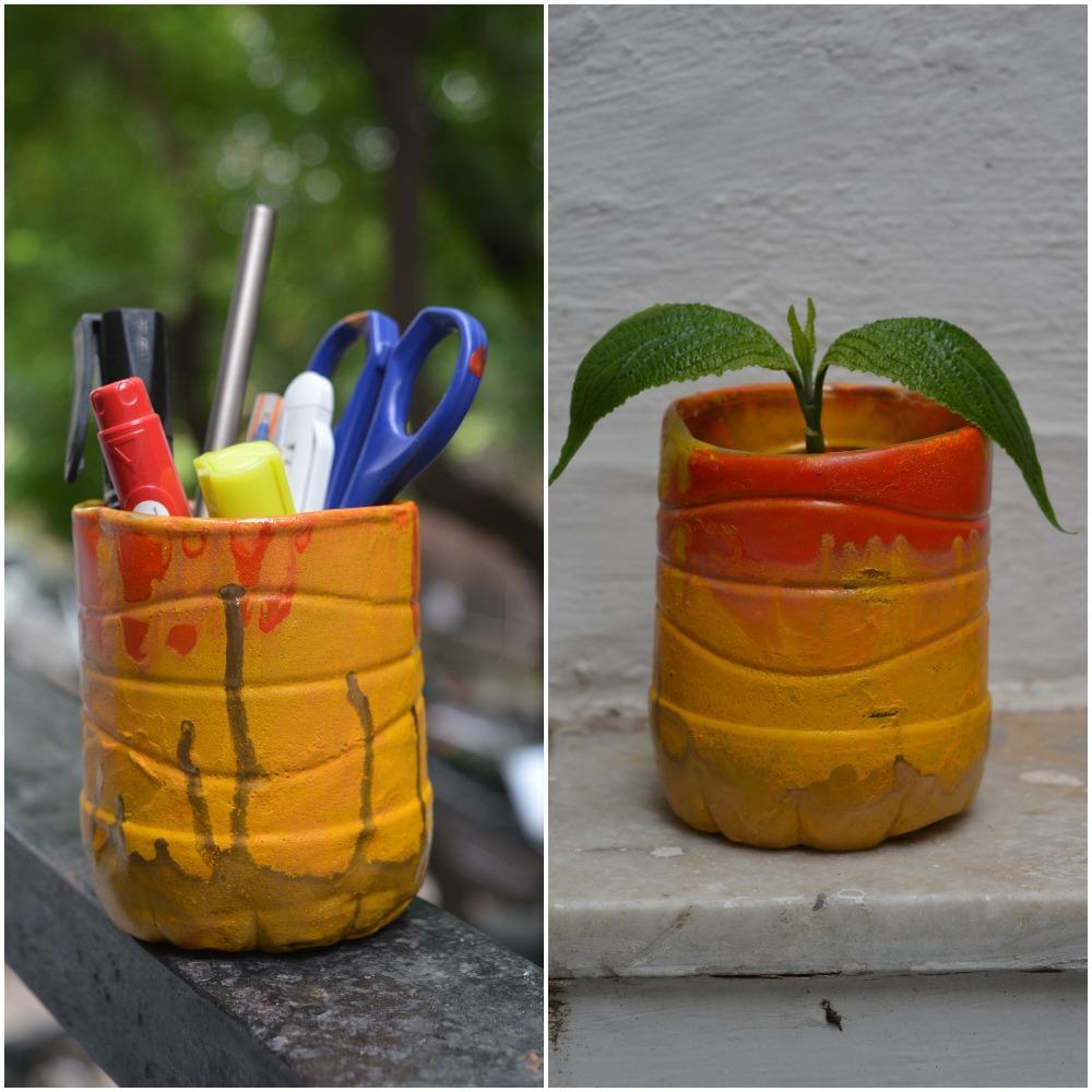 DIY Plastic bottle Pen stand and Pot